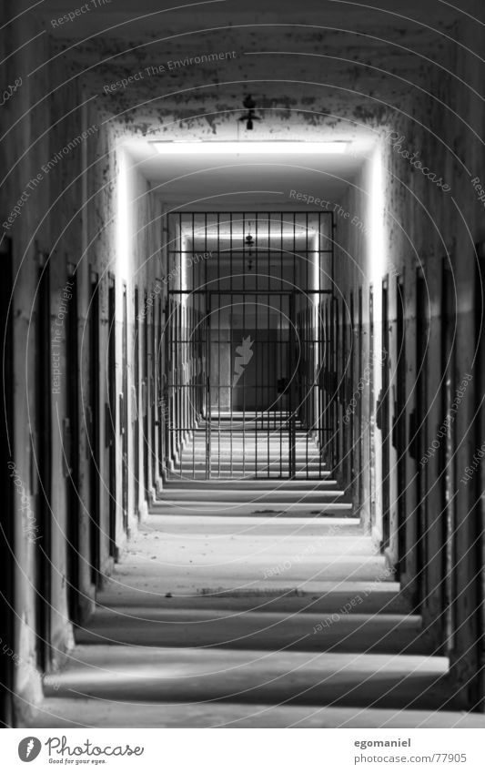 Behind freedom Concentration camp War Mass murder False Black Light Oppressive Captured Germany Historic Derelict Black & white photo Penitentiary Hatred Door