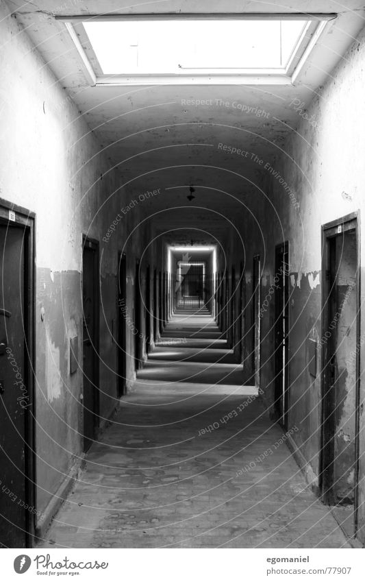 east wing Concentration camp War Mass murder False Black Light Oppressive Captured Germany Historic Derelict Black & white photo Penitentiary Hatred Door Fear