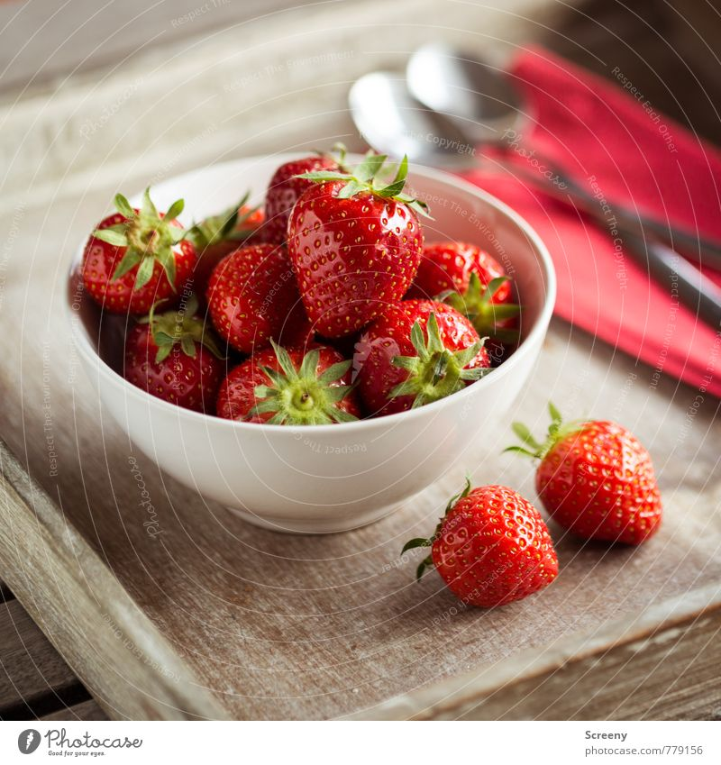 Strawberry #1 Food Fruit Nutrition Bowl Spoon Fresh Healthy Delicious Brown Red Silver To enjoy wooden tray Napkin Wooden table Colour photo Close-up Detail