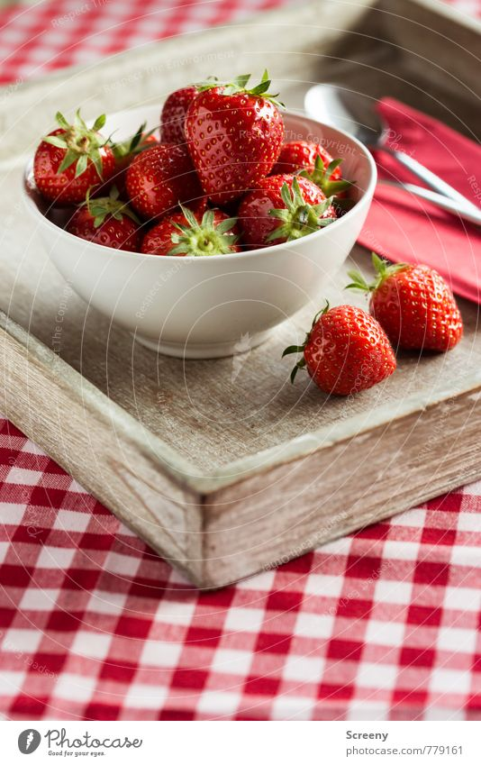 Strawberry #2 Food Fruit Nutrition Bowl Spoon Fresh Healthy Delicious Brown Red To enjoy Tablecloth Checkered wooden tray Napkin Colour photo Close-up Detail
