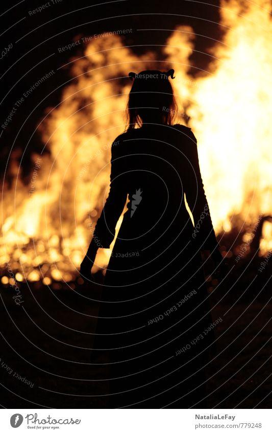 Fire Demon Night life Hallowe'en Witch's fire Feminine Woman Adults Hexentanzplatz Witch's dance Devil Elements Warmth Fireplace Illuminate Threat Dark Creepy