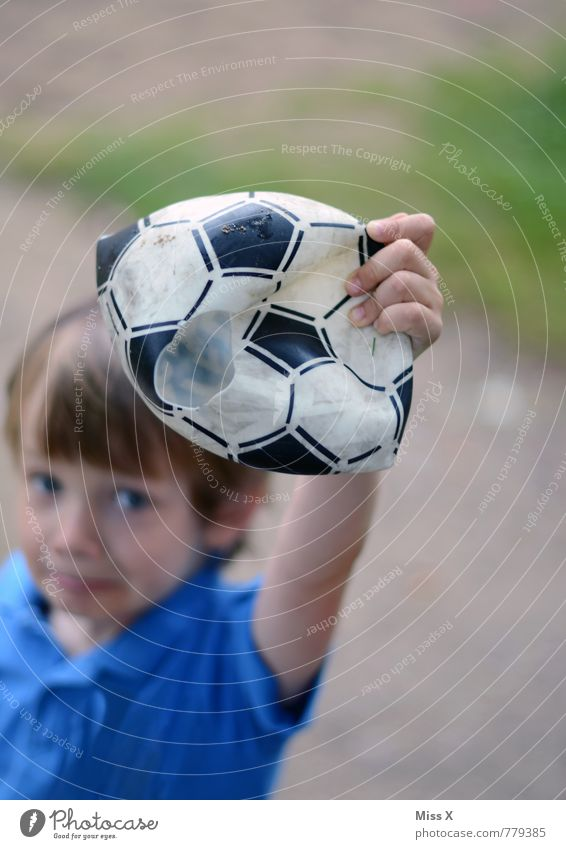 Human being Child Sadness Emotions Boy (child) Sports Playing Moody Leisure and hobbies Masculine Infancy Soccer Broken Ball 8 - 13 years End
