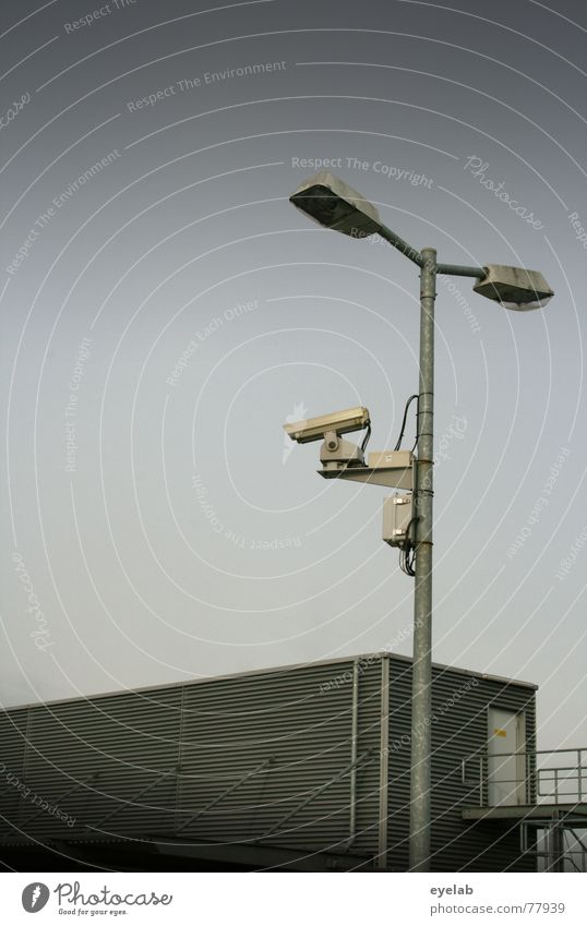 Biometric customer search Sky Light Gray Building Tin Observe Surveillance Lamp Autumn Clouds Window Parking lot Transport Photography Hope Camera grey Metal