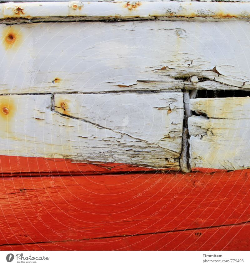 Time signal. Navigation Fishing boat Watercraft Wood Metal Esthetic Broken Gray Emotions Decline Rust Plank Column Nail Auburn Invalided out Colour photo
