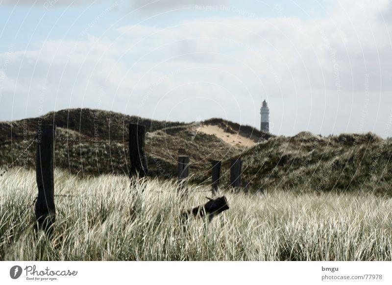 desert Sylt Lighthouse Ocean Beach Fence Summer Gale Clouds Sand marram grass Wind Island summer atmosphere Sky Nature
