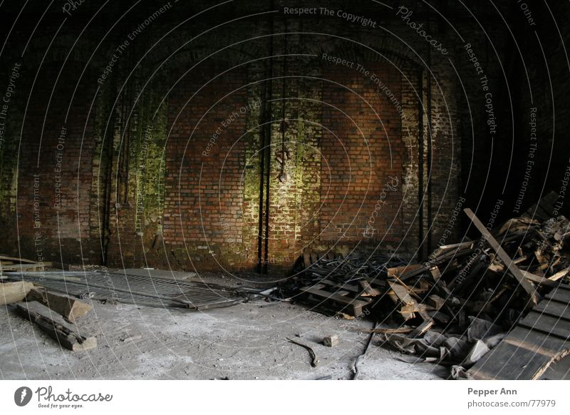 Old Green Dark Wood Gray Stone Brown Dirty Concrete Brick Warehouse Eerie Factory hall Building rubble Shaft of light Decompose