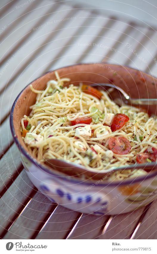 Dearest noodle salad. Food Cheese Vegetable Lettuce Salad Dough Baked goods Herbs and spices Noodles pasta salad Nutrition Eating Dinner Buffet Brunch
