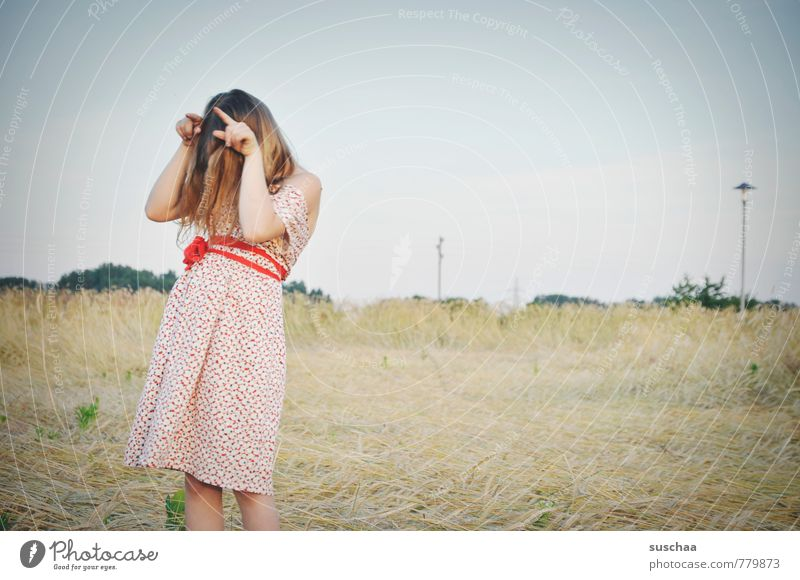 Human being Sky Child Nature Youth (Young adults) Summer Young woman Hand Landscape Girl Environment Feminine Playing Hair and hairstyles Head Field