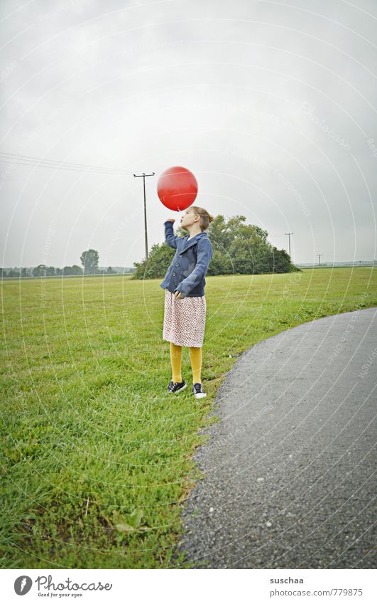 Human being Sky Child Nature Summer Landscape Girl Environment Feminine Grass Lanes & trails Spring Playing Infancy Free Retro