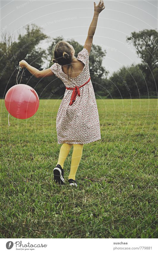balloon holder II feminine Child Girl Infancy Hair and hairstyles 8 - 13 years Environment Nature Sky Summer Tree Grass Field Playing Happiness Healthy Wild