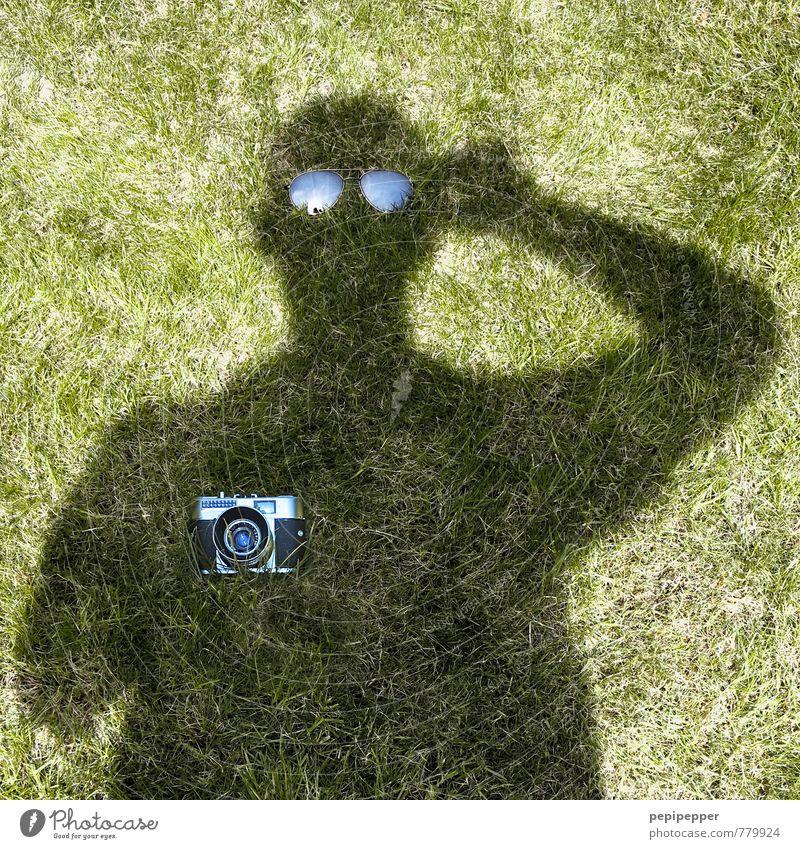 undercover Leisure and hobbies Summer Garden Camera Man Adults 1 Human being Art Grass Meadow Sunglasses Observe Carrying Exceptional Green Black Joy