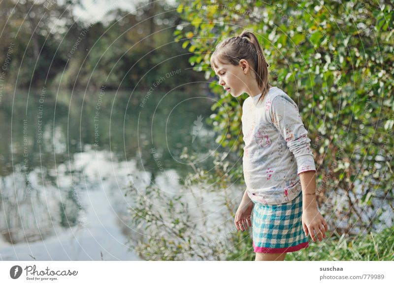 Human being Child Nature Water Summer Tree Hand Landscape Girl Environment Face Feminine Hair and hairstyles Lake Head Body