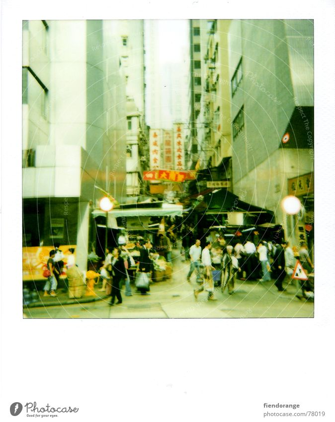 Human being Far-off places Street Flat (apartment) Going Shopping China Foreign Polaroid Hongkong Mandarin