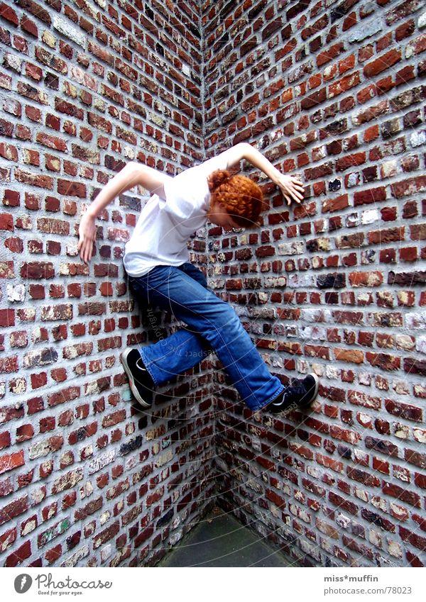 Red Joy Boy (child) Wall (barrier) Corner Jeans Climbing Brick Neuss district Hombroich Island Trust