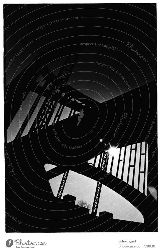 in the evening at the bridge Light Sunset Dark Twilight Bridge Black & white photo Evening