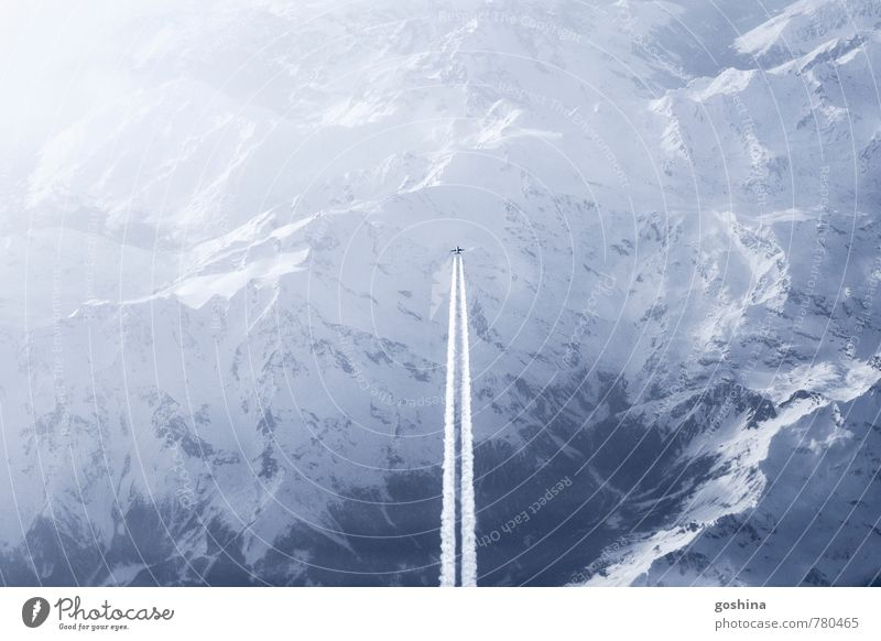 Sky Landscape Far-off places Mountain Snow Freedom Flying Aviation Airplane Adventure Alps Peace Wanderlust Passenger plane