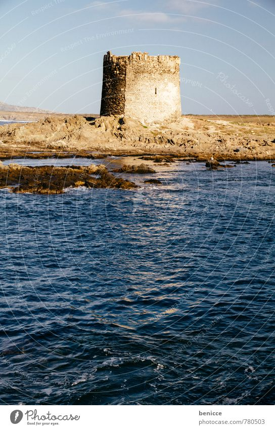 Tower in Stintino, Sardinia, Italy Pelosa Beach Alghero Vacation & Travel Travel photography Building Architecture Tourist Attraction defense tower