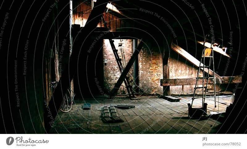 Old Loneliness Dark Cold Window Wall (building) Wood Cable Roof Brick Decline Plaster Risk Repeating Ladder Wooden floor