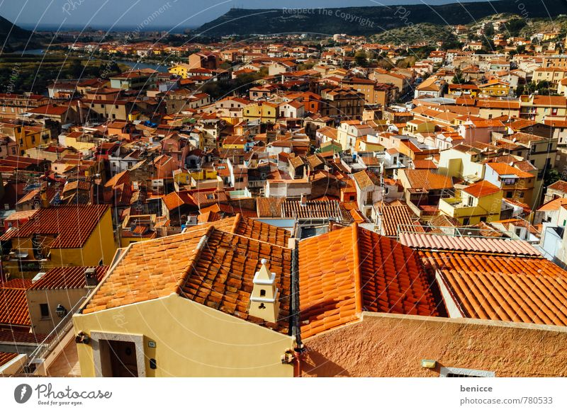 bosa Town Roof pink Italy Old town Sardinia Vacation & Travel Travel photography Sun Sunbeam Shingle Bird's-eye view House (Residential Structure)