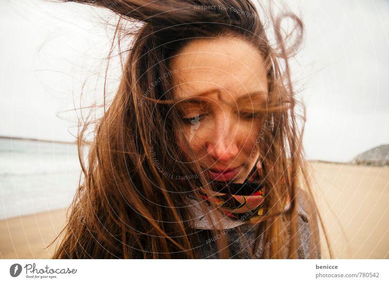 windy V Woman Human being Wind Hair and hairstyles European Caucasian Girl Winter Autumn Coat Beach Sandy beach Ocean Blown away Brunette Italy Water Sardinia