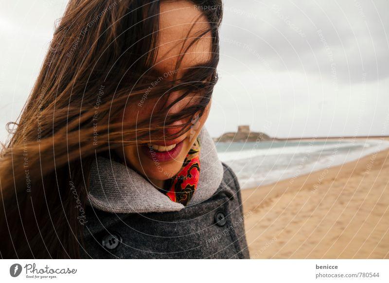windy IV Woman Human being Wind Hair and hairstyles European Caucasian Girl Winter Autumn Coat Beach Sandy beach Ocean Blown away Brunette Italy Water Sardinia