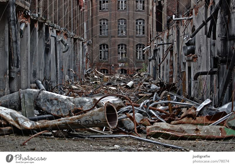 industrial romance Needy Ruin Building rubble Facade Brick Dismantling Decline Hannover Factory Rubber Might Historic Sordid Fate War Destruction Useless Futile