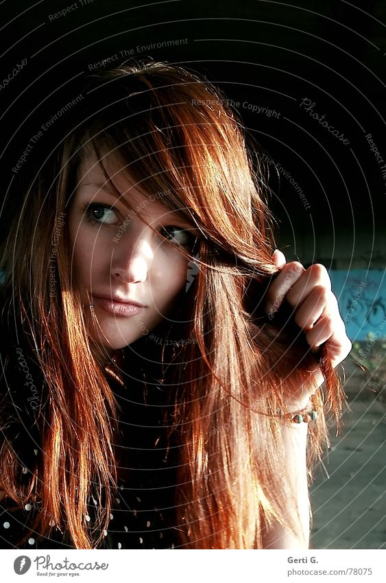 vieW Long-haired Red-haired Henna red Beautiful Woman Young woman Portrait photograph Hand Appearance Annoy Caution Hesitate Perspective Looking look
