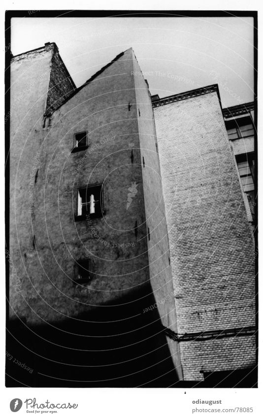 the window House (Residential Structure) Old building Window Facade Plaster Black & white photo Stone Perspective rear building Berlin