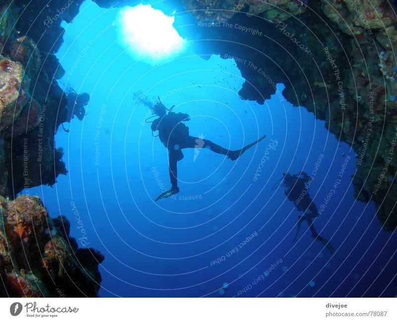 Canyon Dahab Egypt Dive Diver Ocean Diving equipment Cave Blue Red Sea diving divergent water sea deep blue Sun
