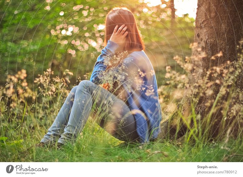 Dreamy world Feminine Young woman Youth (Young adults) Woman Adults 1 Human being Environment Nature Sunrise Sunset Summer Tree Grass Meadow Forest Think