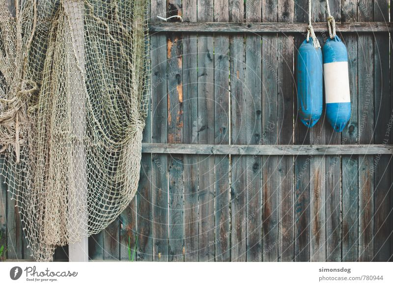 Vacation & Travel Blue Wall (building) Wall (barrier) Idyll Fence Net Fishing (Angle) Fishery Canada Weathered Wooden wall Screening Buoy Fishing net