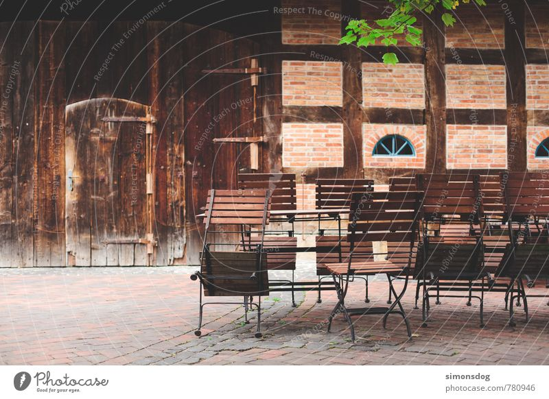 Calm House (Residential Structure) Joy Eating Feasts & Celebrations Facade Idyll Closed Chair Farm Hut Courtyard Beer garden Half-timbered facade Appealing