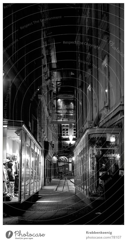 shop windows Shop window Shopping center Alley Night Long exposure Graz Austria Dark Narrow Old town Black & white photo Architecture