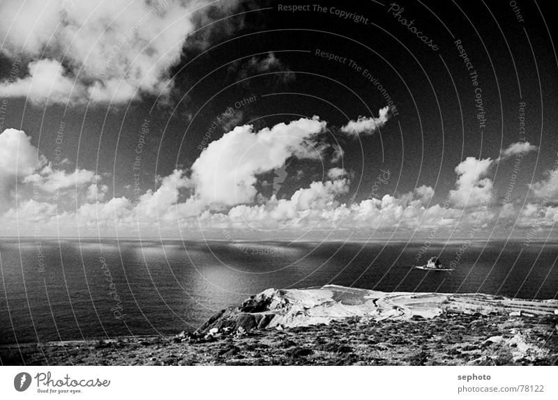 Sky White Ocean Blue Calm Black Clouds Mountain Landscape Waves Coast Wind Island Gale Surf