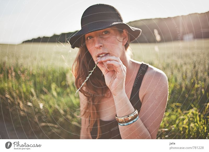 Human being Woman Sky Nature Summer Sun Landscape Environment Adults Feminine Esthetic Hat Brunette Long-haired 30 - 45 years