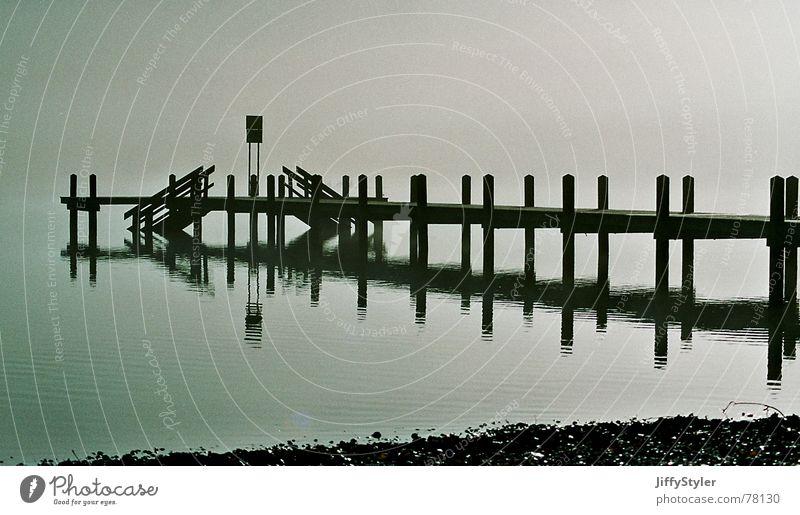 fog bridge Fog Lake Footbridge Loneliness Reflection Water Landscape Nature Empty Shadow