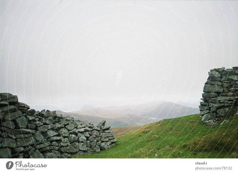 Western Norway Stone wall Fog Coast Loneliness Far-off places Meadow Cold Hill Deserted Exterior shot