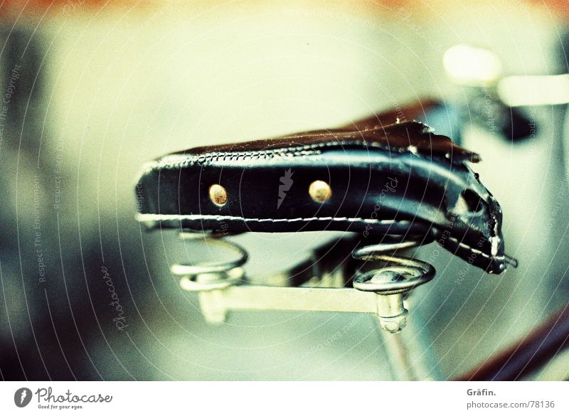 wear and tear Leather Bicycle Black Bicycle saddle Old Second-hand cross canon Reflection