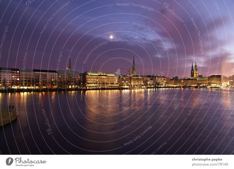 Water Sky City Vacation & Travel Clouds Germany Hamburg Trip Night Romance Kitsch Skyline Moon Historic Lakeside