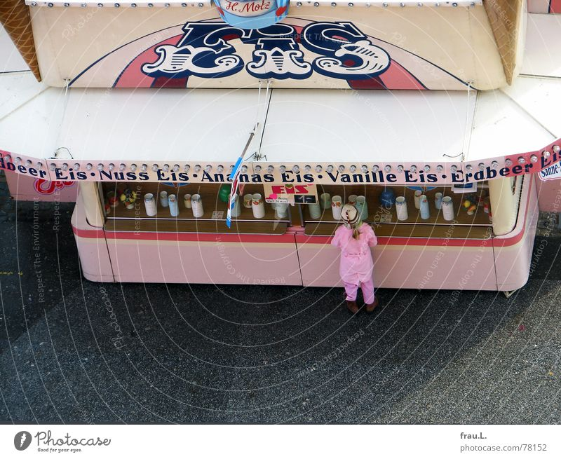 ice cream parlour Shopping Fairs & Carnivals Girl Child Sweet Delicious Cold Pink Leisure and hobbies Candy Dome Ice Bird's-eye view Ice cream Uniform Canopy