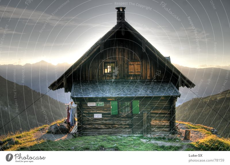 Anton-Renk hut HDR Austria Hiking Clouds Hut Mountain Dynamic compression Sun Alps Sky