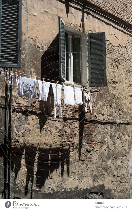 Good drying area Tourism Italy Wall (barrier) Wall (building) Window Shutter Underwear Clothesline Laundry Washing Hang Fresh Clean Warmth Dry Characteristic