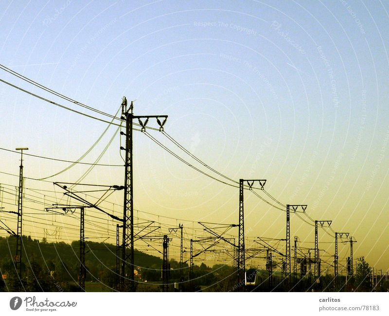 Work and employment Transport Railroad Sleep Speed Energy industry Electricity Cable Railroad tracks Train station Boredom Electricity pylon Transmission lines
