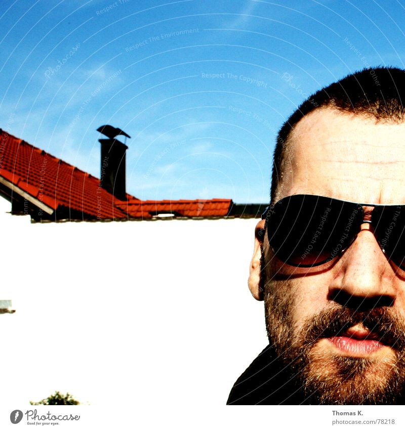 Untitled (or: Self-Portrait) Chimney Facial hair Sunglasses Lips Wall (barrier) Roof Sky Skinhead Head Face Hair and hairstyles Nose Mouth Ear Thomas heartier
