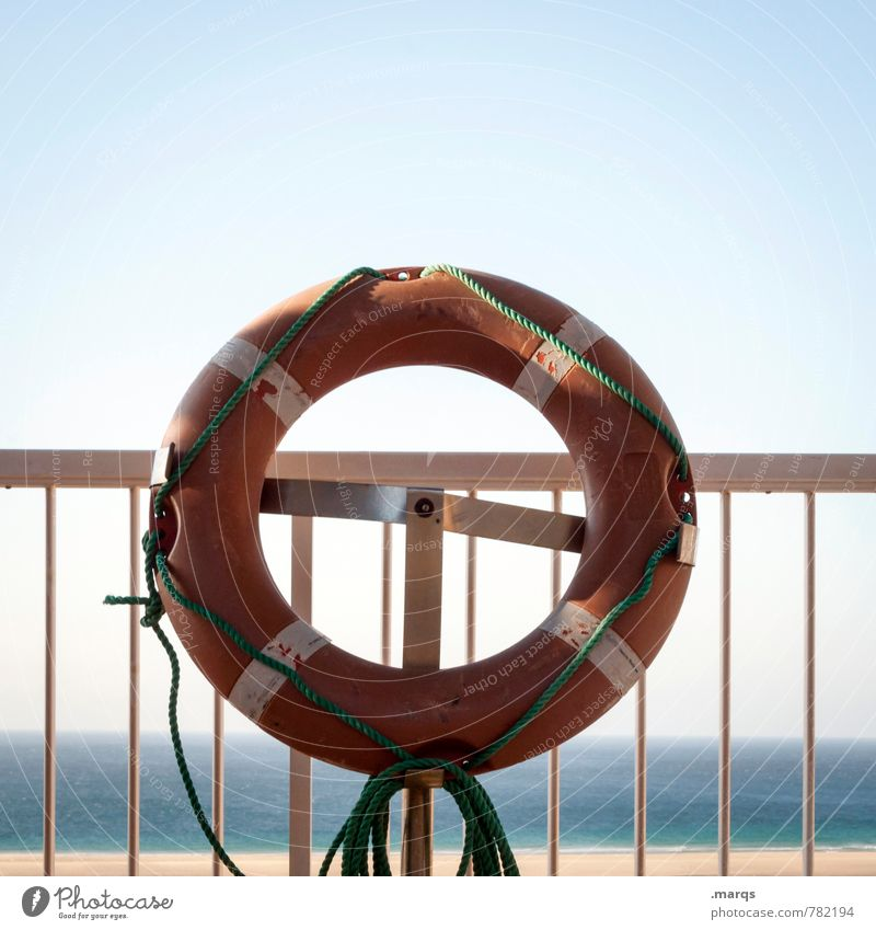 rescue me Aquatics Cloudless sky Horizon Summer Beautiful weather Handrail Life belt Sign Simple Moody Help Safety Fear Drown SOS Rescue Swimming & Bathing