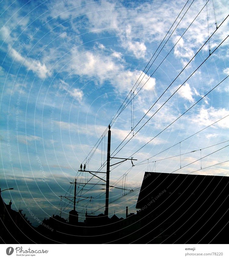 Sky Blue White Clouds Black Calm Dark Bright Electricity Railroad Village Skyline Traffic infrastructure Transmission lines Bad weather Overhead line