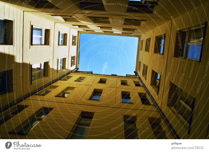Sky Window Facade Rectangle Prague Interior courtyard Nerudová ulice
