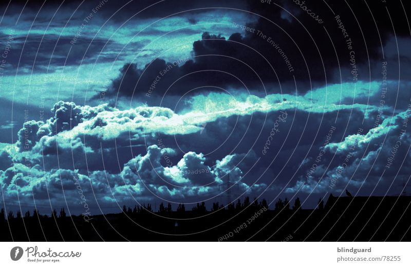 Sky Blue Colour Clouds Dark Autumn Rain Fear Threat Storm God Thunder and lightning Deities Bank of clouds