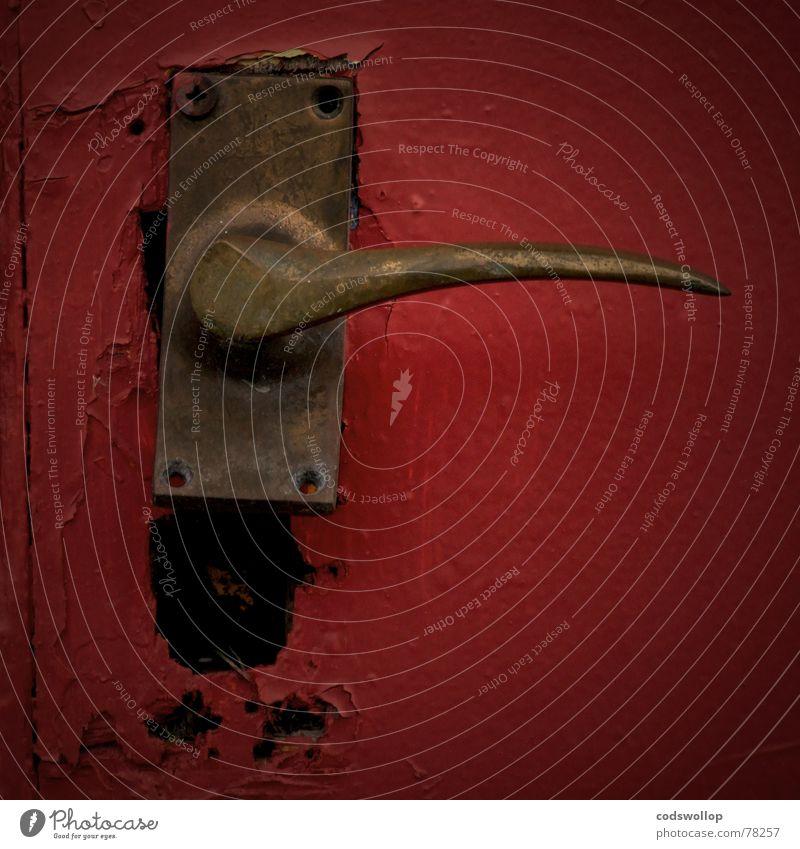Old Red Black Safety Transience Door handle To break (something)