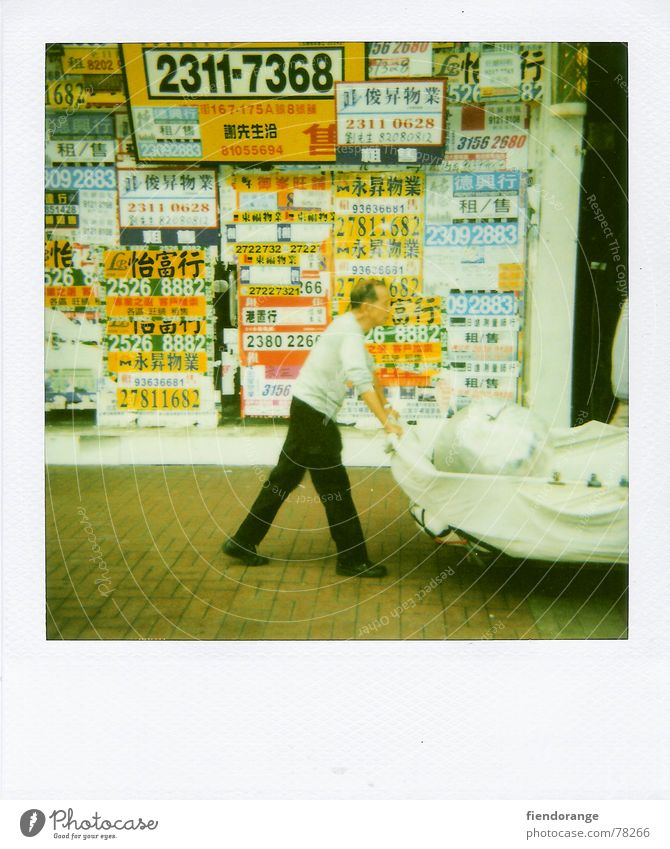 chinese step Hongkong Man Stride Cart Impression Signs and labeling Life Cantonese Polaroid Photos of everyday life